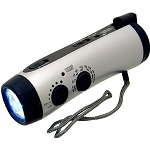 Dynamo Wind-up 5-LED Flashlight with AM/FM NOAA Weather Radio, Cell Phone Charger & Emergency Siren