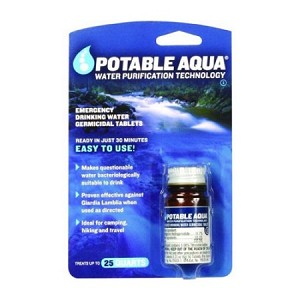 Potable Aqua Water Tablets 50 Per Bottle
