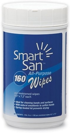Best Sanitizers SMAW006 Smart-San All Purpose Wipe, 160 Count Canister (Case of 6)